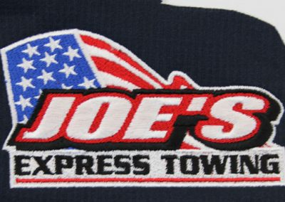 Embroidered company logo on polyester