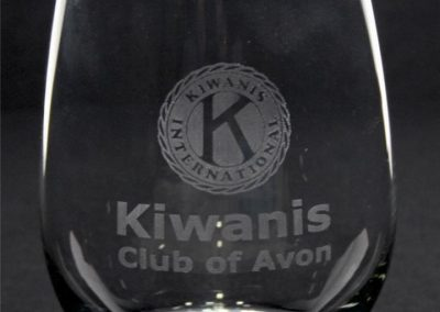 Laser engraved stemless wine glass