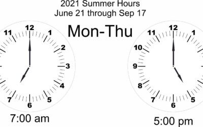 2021 Summer Hours